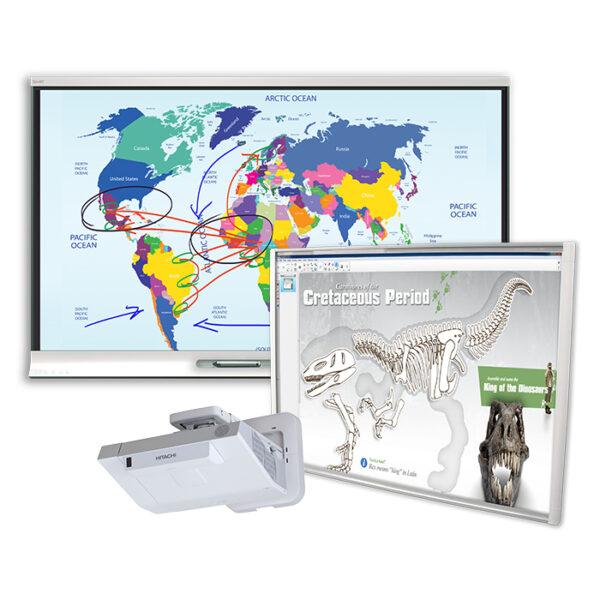 1 x Monitor SMART Board 6065 HD; 1 x Tablica SMART SBM680V + projektor ultrakrótkoogniskowy HITACHI CP-AX2505
