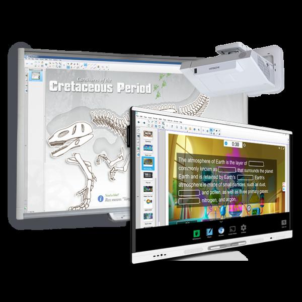 "1 x monitor interaktywny SMART 65"" 4K SMART KAPP IQ, 1 x tablica interaktywna SMART 77"", 1 x projektor ultrakrótkoogniskowy HITACHI 3200 ANSI"