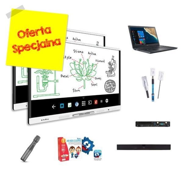 """PROMOCJA! 2 x Monitor interaktywny 65"""" SMART MX165 4K Android + oprogramowanie SMART Notebook + zestaw uzupełniający i wspierający"""